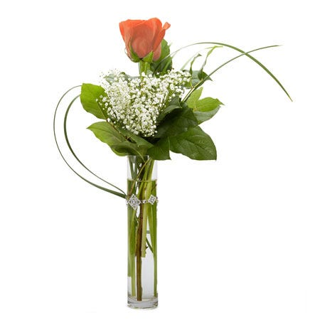 One single orange rose bouquet arrangement of same day delivery roses