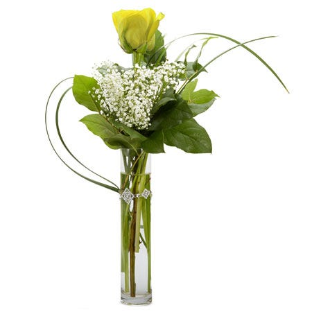 One single yellow rose bouquet, single yellow rose arrangement