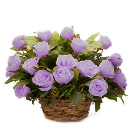 Lavender rose basket flowers arrangement with lavender roses and card
