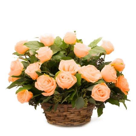 Orange rose bouquet basket bouquet with soft peach orange roses