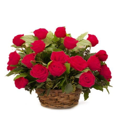 Red roses in a basket bouquet, a red rose bouquet basket