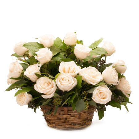 White rose bouquet basket with white roses, woven basket and card message