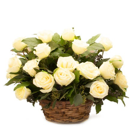 Pale yellow rose flower basket bouquet with yellow roses, woven basket and card