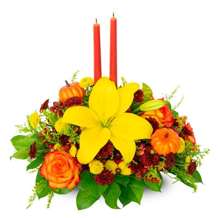fall flowers candle centerpiece