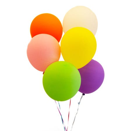 Mixed latex balloons bouquet with colored floating balloons at Send Flowers