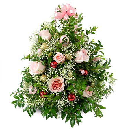 Christmas Flower Decorations.Christmas Tree With Pink Roses