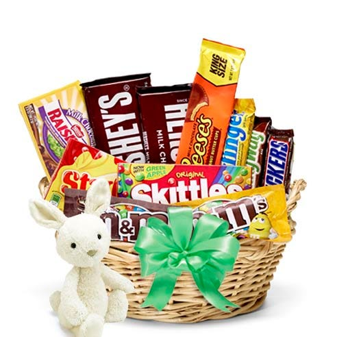Plush bunny and candy gift basket