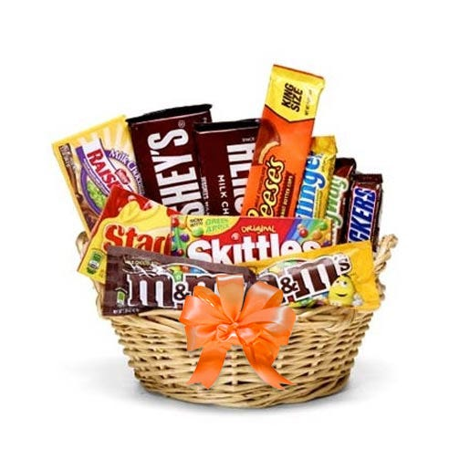 Fall chocolate candy gifts basket with chocolate bars, candy and sweets