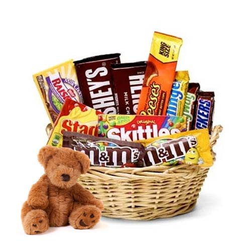 teddy bear and chocolate gift basket, bear and chocolate gifts basket
