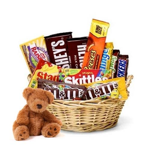 teddy bear and chocolate gift basket with stuffed animal and chocolate bars