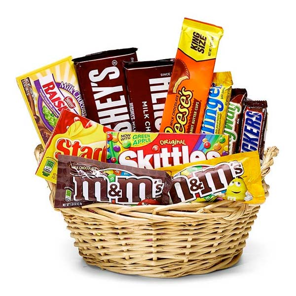 Favorite candy gift basket with Hershey's chocolate bars, Reeses and snickers
