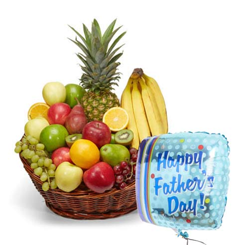 fathers day gift basket, fathers day fruits gift basket delivery with balloon