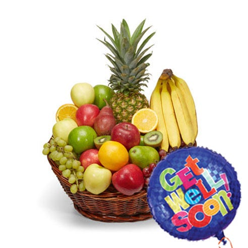 Gift basket get well soon with fruits and same day balloon delivery