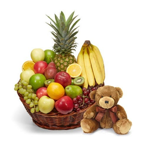 Mixed fresh fruits gifts basket with stuffed animal teddy bear gift