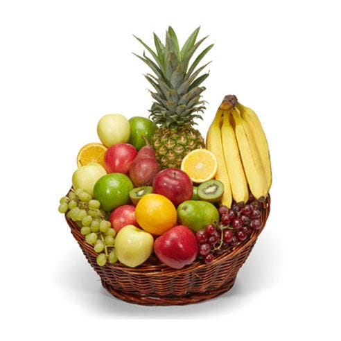 Pineapple and fruits gifts basket with apples, oranges, kiwi, grapes and bananas