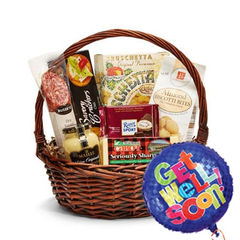 Cheap Get Well Soon Gift Baskets Same Day Delivery With Get Well Balloon