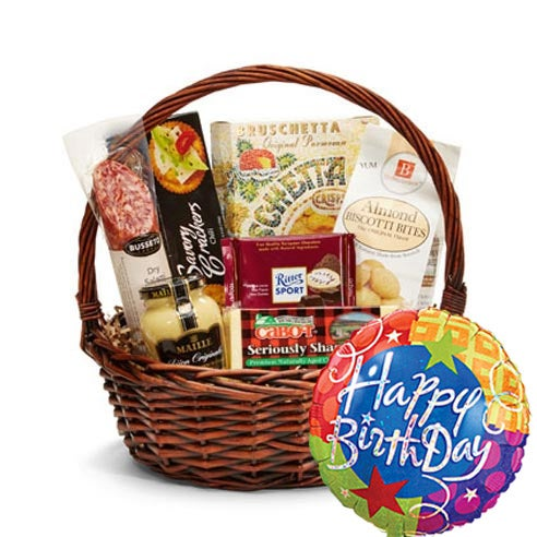 So dandy happy birthday gift basket at send flowers cheap birthday gift basket delivery with happy birthday balloon and gourmet snacks negle Image collections