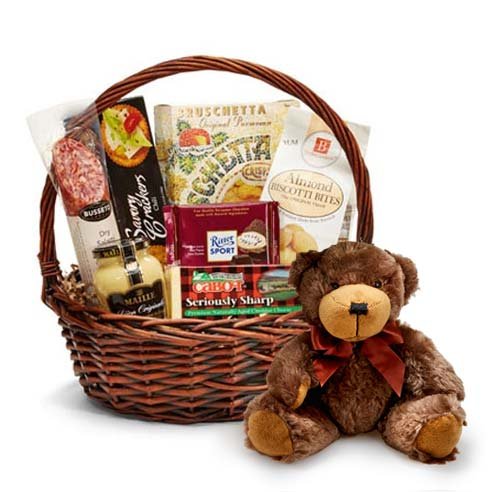 sausage and cheese gift basket delivery and bear delivery at send flowers