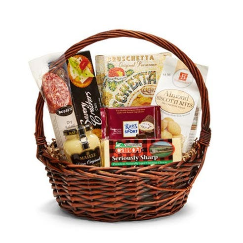 Gourmet sausage and cheese baskets with sausages, cheeses and crackers