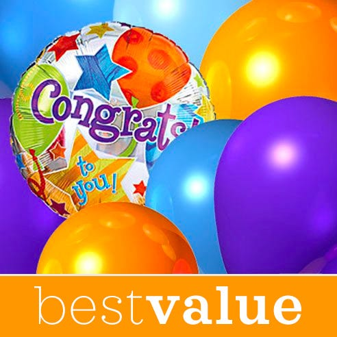 Best value florist designed congratulations balloons bouquet with card message