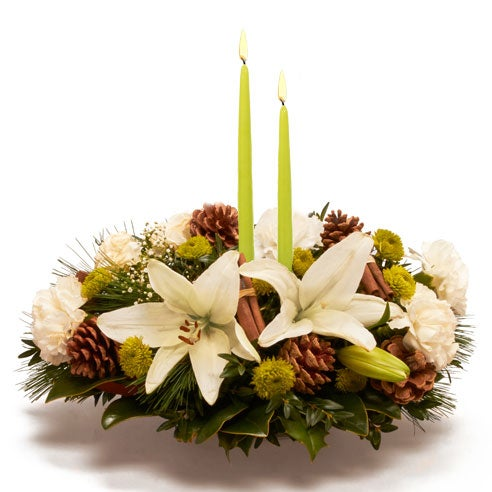 green cheap flower candle centerpiece delivery today from send flowers usa