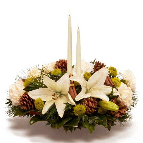 White lily holiday centerpiece
