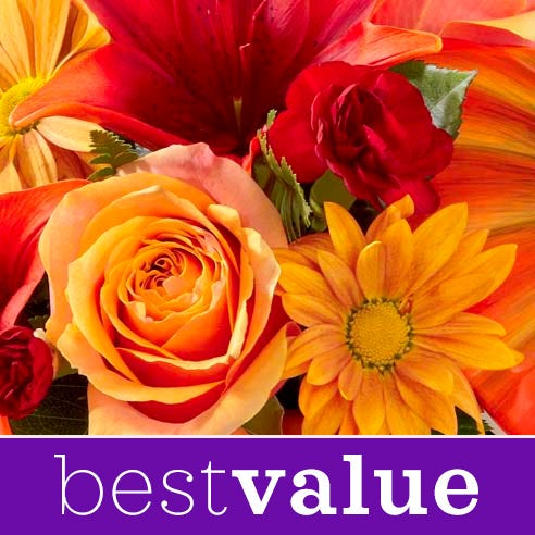 Best value Fall flowers bouquet with fall flowers and orange flowers with vase