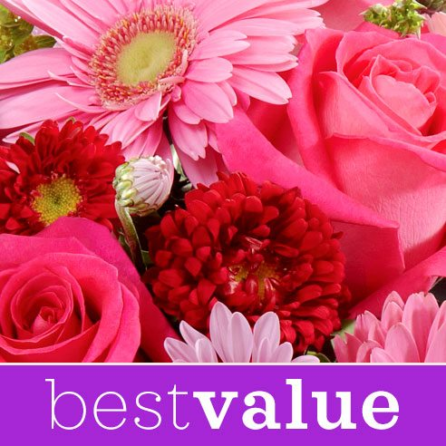 Best value flower delivery and cheapest flower delivery online with pink flowers