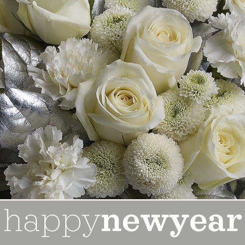 cheapest new years eve flower bouquet with white and silver flowers and vase