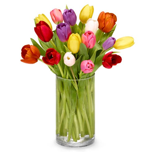 Rainbow tulip arrangement with red, orange, yellow, pink, purple and white lilies