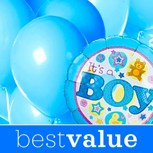new baby boy gift delivery same day with baby boy balloons bouquet and bunch