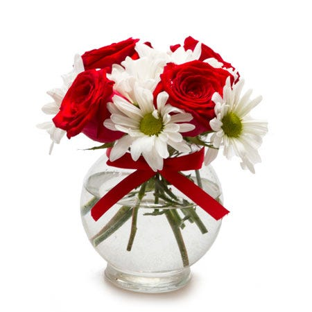 Classic gifts for mom small red rose bouquet with white daisies