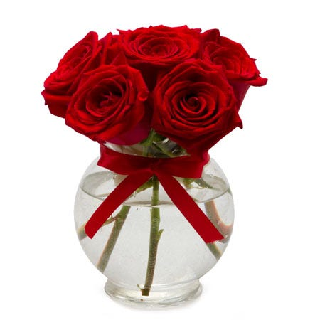 Red Roses Bouquet Vase