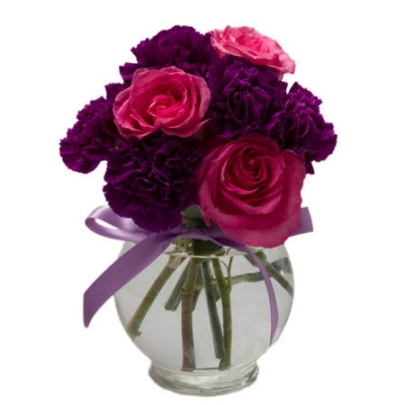 Small bouquet of flowers and pink and purple rose carnation bunch bouquet