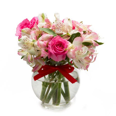 Petite small flowers bouquet with hot pink roses and pale pink white alstroemeria