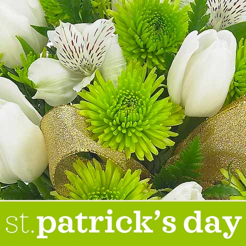 cheapest saint patricks day flower delivery with green flowers and cheap flowers