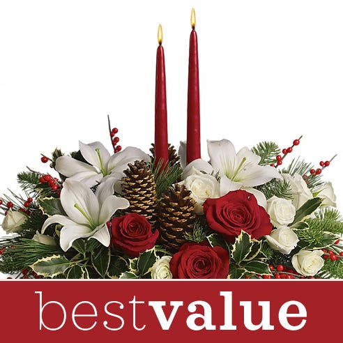 cheapest christmas flower centerpiece delivery from send flowers usa