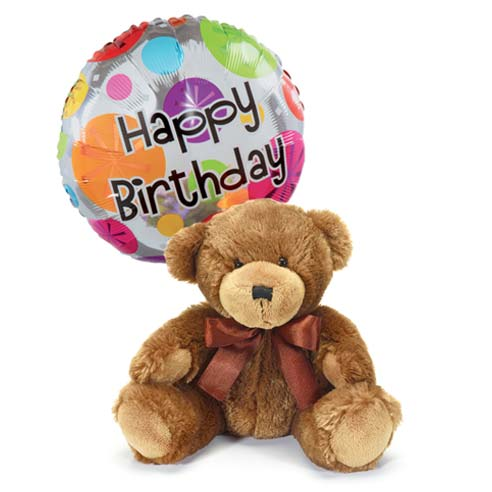 Same day birthday bear delivery with happy birthday mylar balloon at send flowers