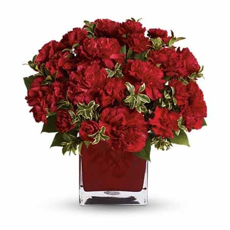 Red flower bouquet of romantic red carnations with red square glass vase