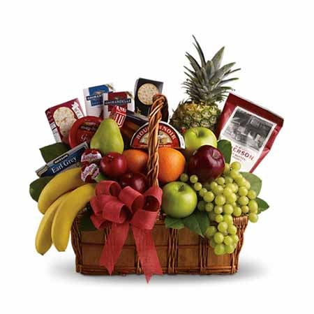 Gourmet Fruit basket with apples, pears, bananas, pineapple, cheeses and crackers