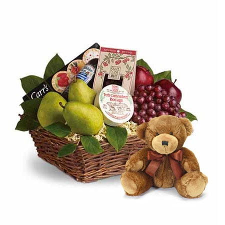 gourmet fruits basket hand-delivered with a stuffed animal teddy bear gift