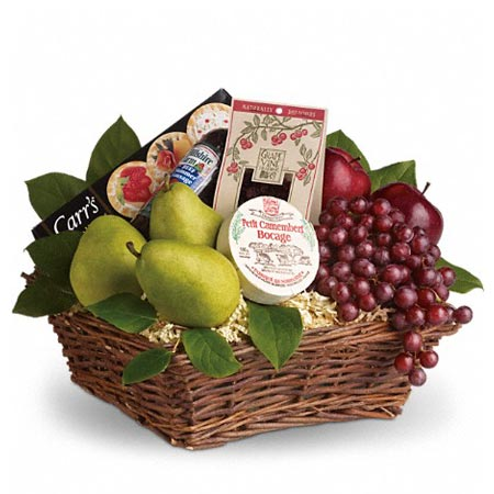 Awesome gift baskets for guys fruit basket with grapes, cheeses, crackers, and snacks