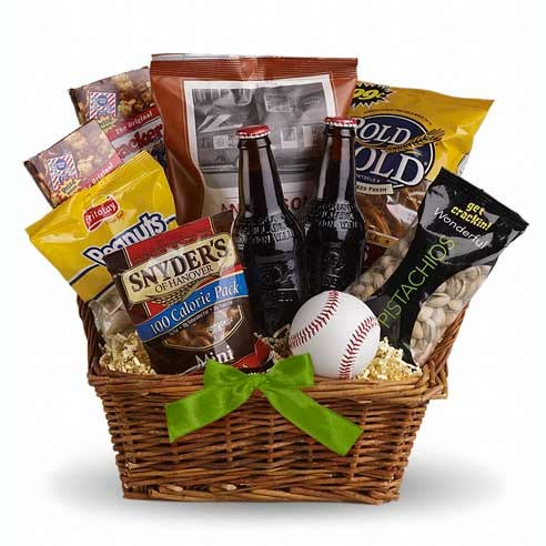st patricks day gift basket for men with baseball and drinks, a great st pattys day gift delivery