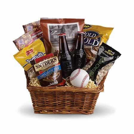Sports gift basket and baseball themed gift basket with baseball, pretzels and snacks