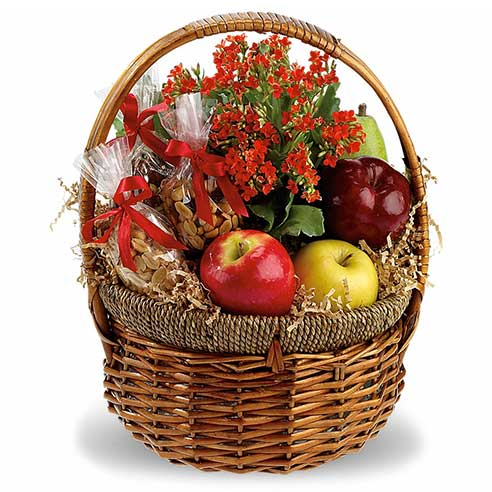 Ideas for Halloween gifts, a fruit and nut gift basket