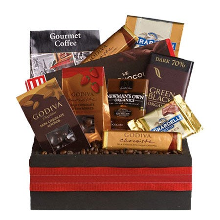 Godiva chocolate gifts basket with godiva chocolate and Ghirardelli chocolates