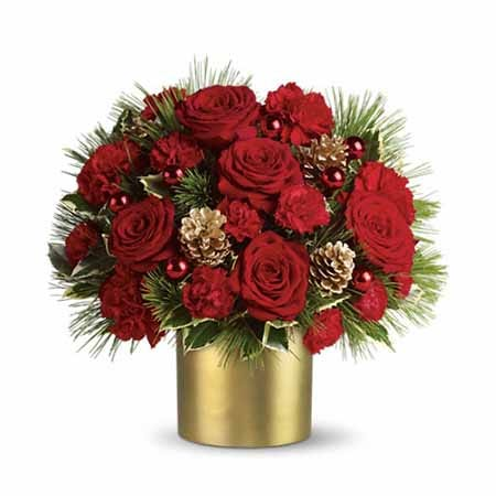 Red rose flower bouquet with red roses and cheap flowers in gold vase