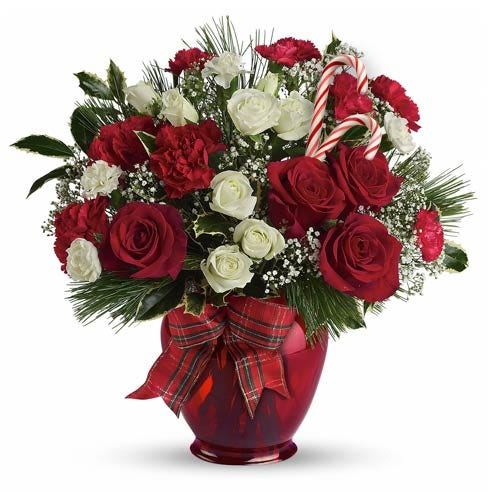 red rose candy cane flower bouquet delivery with christmas flowers online