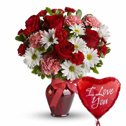 I love you balloons with flowers at send flowers com, red roses bouquet