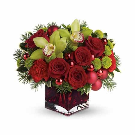 Red roses and green chrysanthemums for same day flower delivery